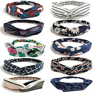 LZYMSZ 10 Packs Floral Print Headwrap,Boho Women's Headbands Criss Cross Elastic Head Wrap Twisted Vintage Hair Accessories (10-color)