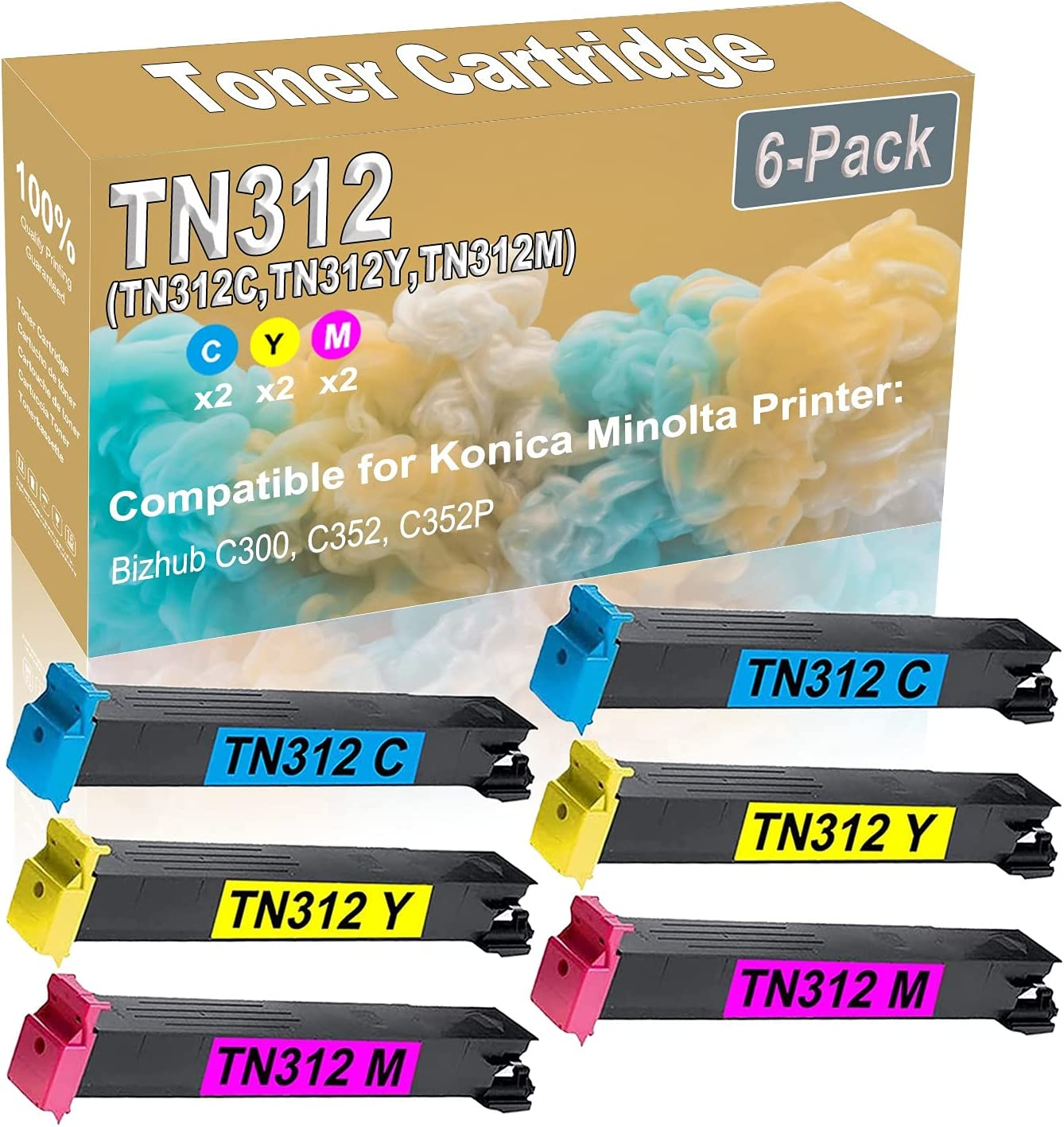 6-Pack (2C+2Y+2M) Compatible Bizhub C300 C352 C352P Laser Toner Cartridge (High Capacity) Replacement for Konica Minolta TN312 (TN312C TN312Y TN312M) Printer Toner Cartridge