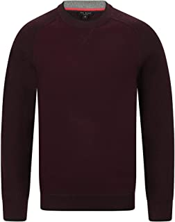 Mens Crew Neck Knitted Jumper in Purple