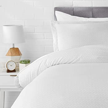 AmazonBasics Light-Weight Microfiber Duvet Cover Set with Snap Buttons - Twin/Twin XL, Grey Crosshatch