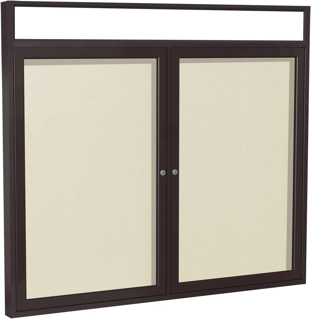 Ghent 3 x 4 Inches Outdoor Bronze Frame Enclosed Vinyl Bulletin Board with Headliner Caramel Made in the USA
