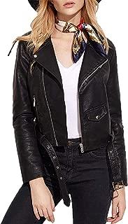 Women's Faux Leather Motorcycle Biker Short Coat Jacket Slim Zipper Jacket