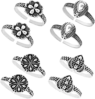 PCM Twist Spiral Spring Adjustable Silver Plated Toe Ring for Women (Silver)