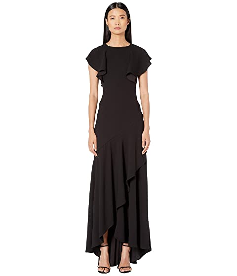 ML Monique Lhuillier Satin Black Crepe