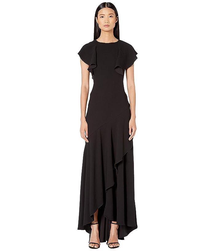 ML Monique Lhuillier  Satin Black Crepe (Jet) Womens Dress