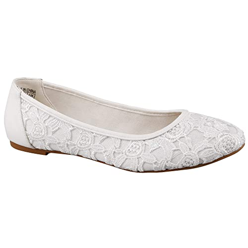 913e9b7f3771 Greatonu Women Shoes Cut Out Slip On Synthetic Lace Ballet Flats