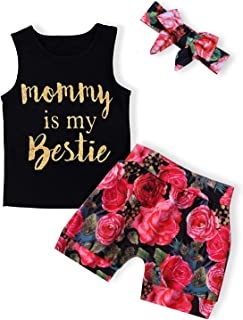 Infant Baby Girl Clothes Mommy is My Bestie Black Sleeveless Tops Floral Pants and Headband Summer Outfit Set