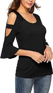 Womens Cute Top U Neck Bell Sleeve T Shirt Cold Shoulder Tee Shirts