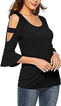 Florboom Womens Cute Top U Neck Bell Sleeve T Shirt Cold Shoulder Tee Shirts