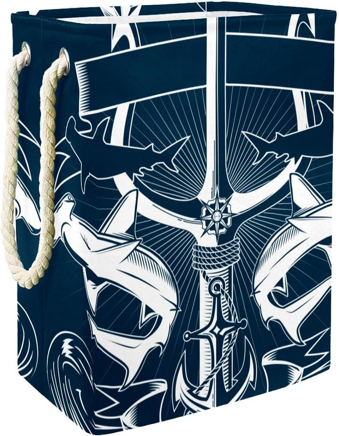 Regular dealer Max 63% OFF Antique Nautical Trident Anchor Laundry Handles With Hamper Larg