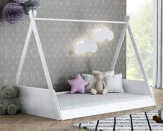 Holzti – Lit comme tente tipi indienne, lit maison en bois de pin, amusement créatif, s'endormir seul, lit en bois de styl...