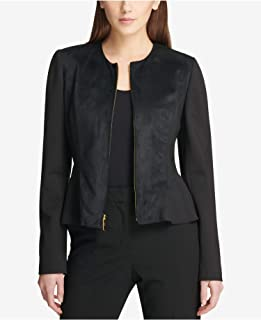 DKNY Womens Black Faux Suede Peplum Jacket US Size: S