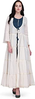 Pret A Porter Teal And White Colored Cotton Designer Kurti With Jacket And Pants (Stitched)