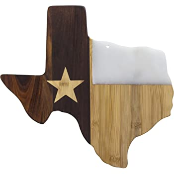 "Totally Bamboo Rock & Branch Series Republic of Texas State Shaped Serving Board, 14"" x 13-3/8"""