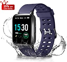 ANGGO Upgraded Fitness Tracker Watch HR, Smart Watches Activity Trackers IP68 Waterproof with Heart Rate Monitor Step Pedometer Calorie Counter for Men Women Kids (Blue)
