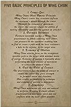 Royal Decor Collection Five Basic Principles of Wing Chun Canvas Wall Art Quotes 8x12