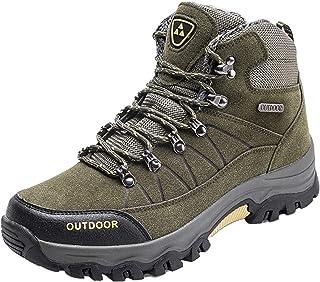 LangfengEU Bottes de randonnée pour Hommes Haut de Gamme en Plein air Hiver Chaud Velours Loisirs Chaussures à Lacets anti...