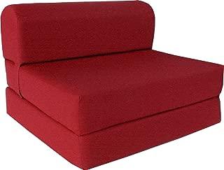 D&D Futon Furniture Red Sleeper Chair Folding Foam Bed 6 x 48 x 72 inches, Studio Guest Beds, Sofa, High Foam Density 1.8 lbs.