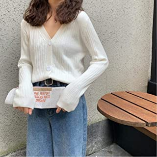 LJLLINGA Autumn Winter Women V Neck Button Up Cardigan Korean Sweater Femme Jersey Knitted Short Sweaters Clothes