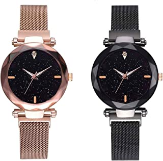 Raiyaraj Black dial Magnetic Gold and Black Belt Analog Watch Combo for Girls and Women