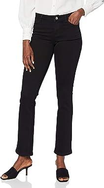 Morgan Jeans Droit Taille Haute à Poches Peach, Noir, XS Womens