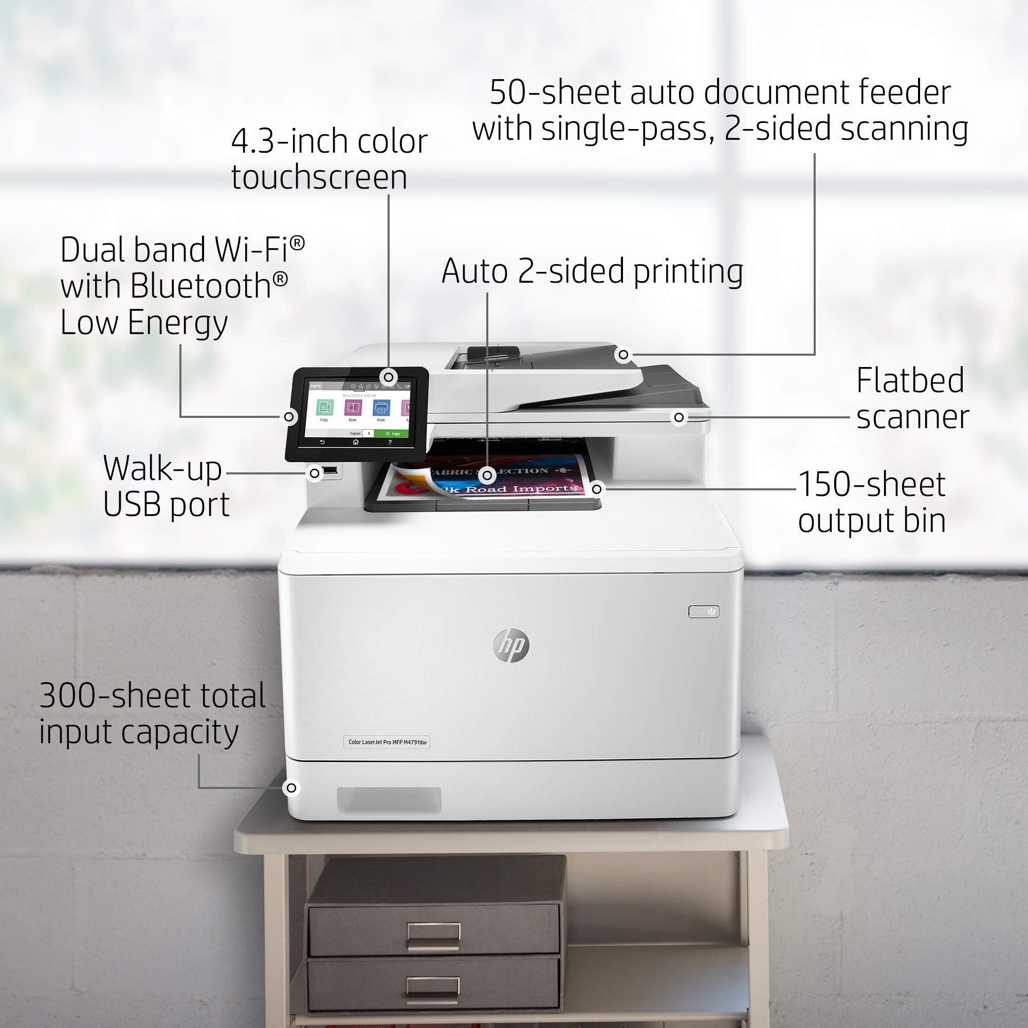 HP Color LaserJet Pro Multifunction M479fdw Wireless Laser Printer with One-Year, Next-Business Day, Onsite Warranty, Works with Alexa (W1A80A)