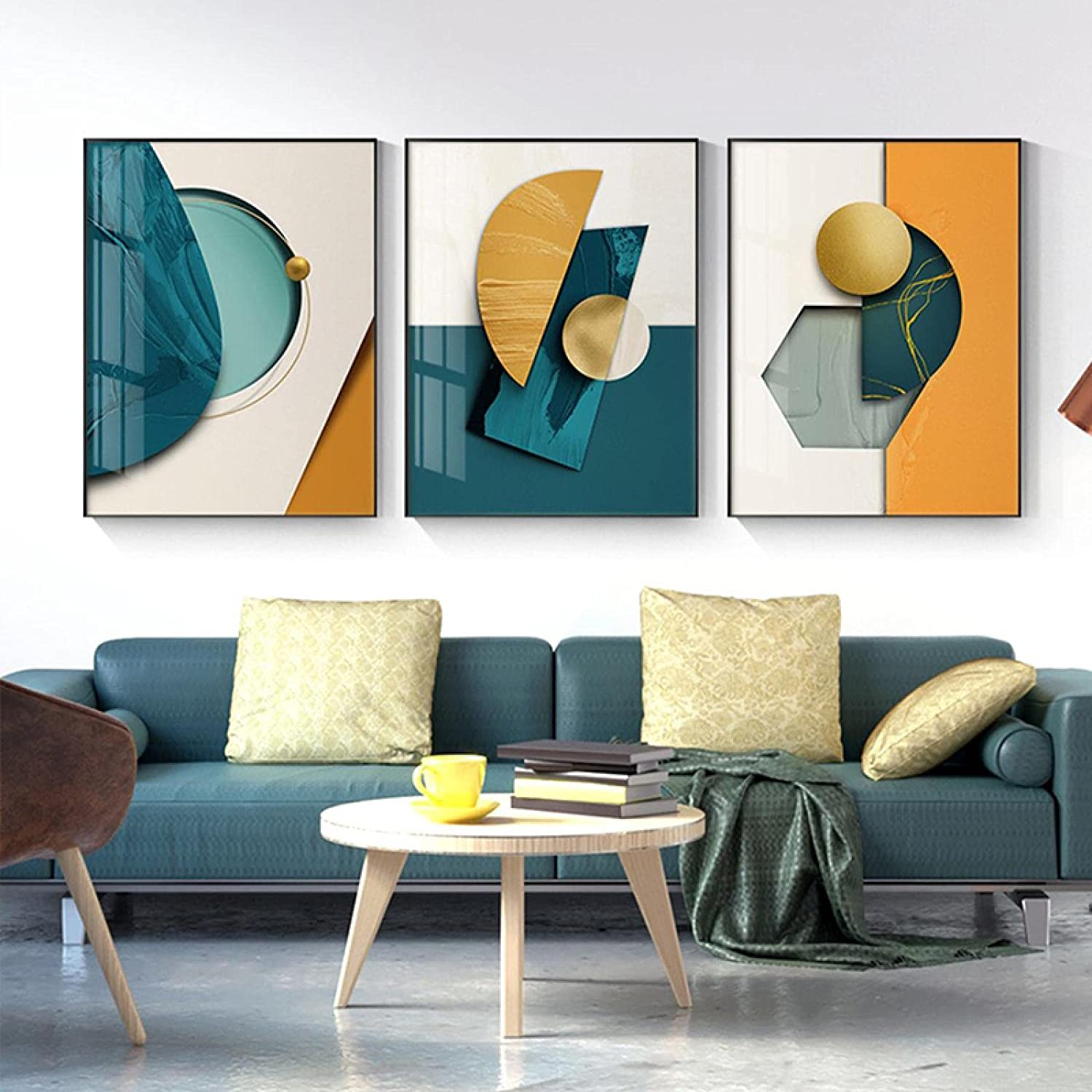 KELEQI Modern Department store Posters Prints Wall and Ranking TOP2 Art Yellow Geometric Green