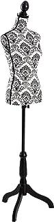 TecTake Buste de Femme Mannequin de Couture | Réglable en Hauteur : 133 – 168 cm (Noir-Blanc | no. 402565)