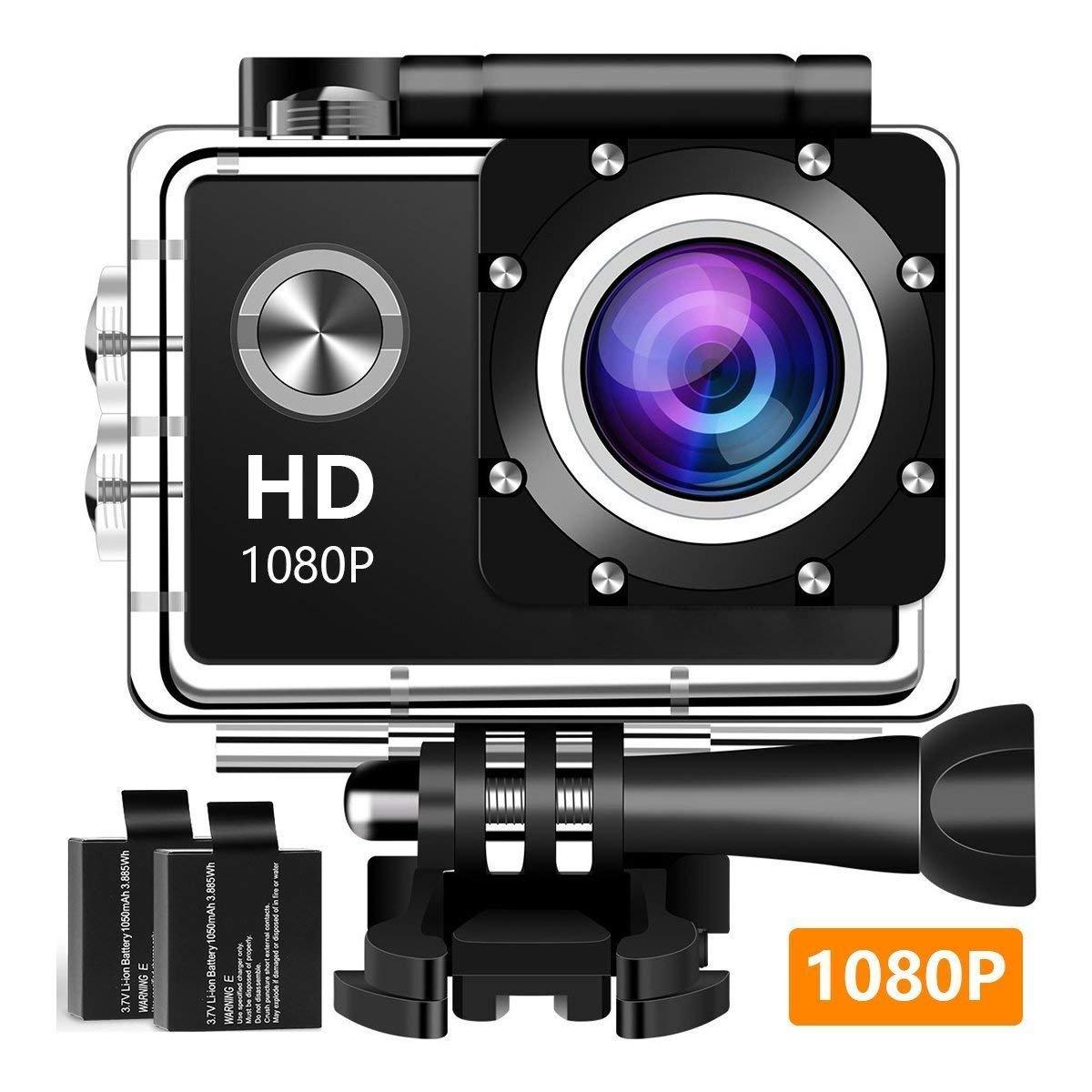 アクションカメラ、12 MP 1080 P 2インチLCDスクリーン、防水モーションカム120度広角レンズ、30 mモーションカメラ2つの充電式バッテリーとマウントキット1080 T 04を搭載