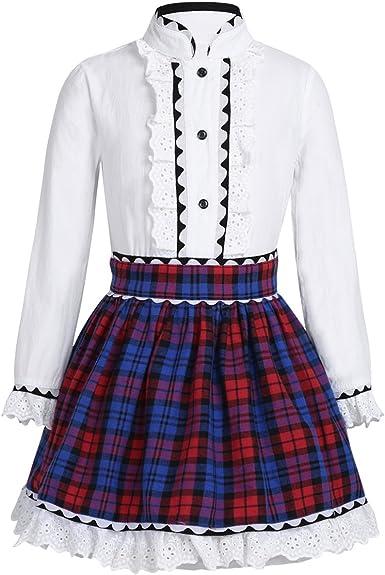 iiniim Conjuntos de Ropa Uniforme Escolar para Niñas Traje de Algodón Camisa Blanca Blusa Mangas Largas Falda Cuadros Colegio Escuela Vintege Elegante ...