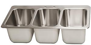 BK Resources DDI3-10141024 Three Compartment Drop-in Deck Mount Sink 10