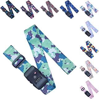 Adjustable Luggage/Suitcase Straps/Belt Tsa Approved - Lockable Travel Accessory - TSA Combination Locking - with Integrated TSA (Travel Sentry Approved) Lock - Green Camouflage