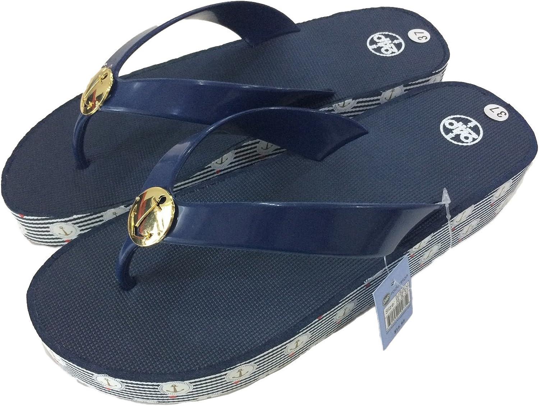 24P Women's Slippers Sandals Comfortable Everyday Flip-Flop Mid Heels Slip-on, Navy Black