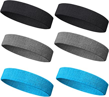 Sweatband Headband/Wristband Perfect for Basketball Running Football Tennis- 6PCS/ 3PCS Terry Cloth Athletic Sweatbands Fits to Men and Women (A-6PC-Black+Gray+ LT Blue)