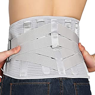 Lower Back Braces for Back Pain Relief - Compression Belt for Men & Women - Lumbar Support Waist Backbrace for Herniated Disc, Sciatica, Scoliosis - Breathable Mesh Design, Adjustable Straps (M, Gray)