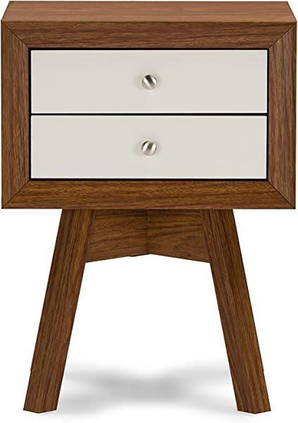 Baxton Studio Warwick Two Tone Modern Accent Table And Nightstand Walnut White