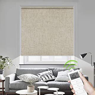 Motorized Blinds Remote Control Window Roller Shade Wireless Rechargeable 100% Blackout Window Shades for Office and Home (Linen Beige)