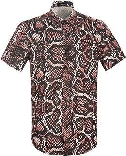 UPAAN Men Snakeskin Printed Shirts Hawaiian Disco Short Sleeve Button Down Casual Shirt