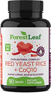 Red Yeast Rice Care with COQ-10 and Organic Flaxseed - Supports Cardiovascular Health - 1215mg - 90 Vegetable Capsules - D...
