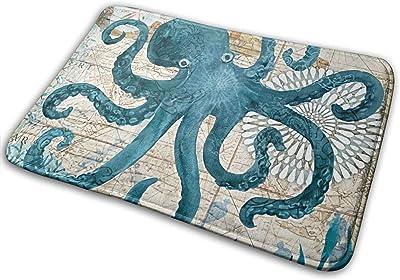 YUNDAY Coastal Non Slip Doormat Home Office Floor Mat Rug, Machine Washable Customize Octopus Print,Indoor Kitchen Bathroom Entrance Door Mats Rubber