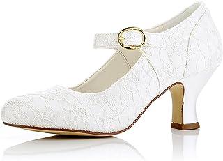JIA JIA 11015 Women's Bridal Shoes Closed Toe Mid Heel Lace Satin Pumps Wedding Shoes