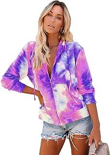Womens Tie Dye Sweatshirts Pullover Long Sleeve Hoodie with Drawstring
