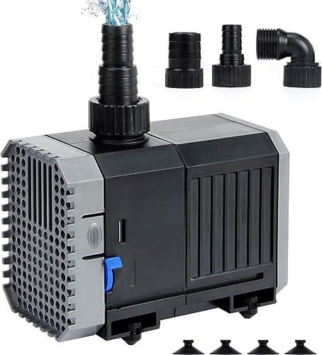 Yorbay Pompe de Bassin CHJ-1500 25W 1500L/H avec 10m Câble d'alimentation Pompe de Jardin pour Jardin, Etangs, Aquari...