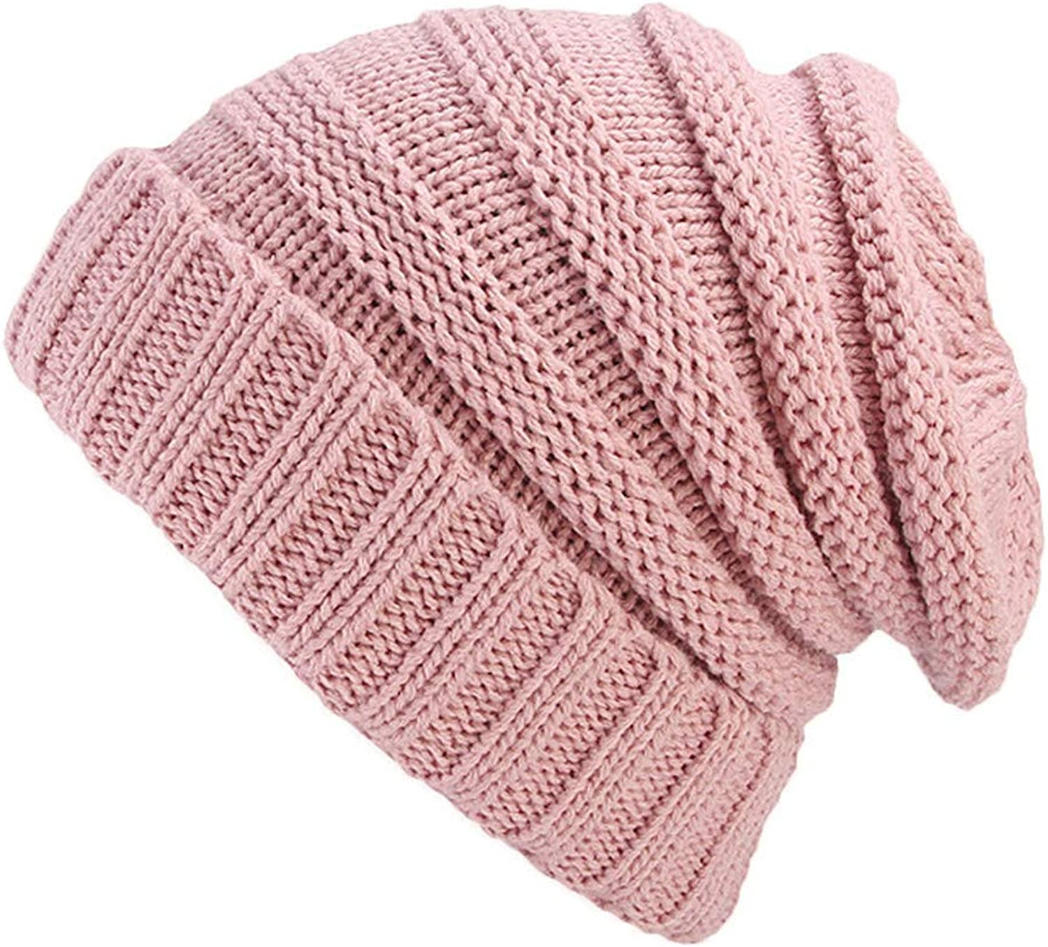 Qianmome Messy Bun Ponytail Hats Beanies Skullies Ribbed Knitted Warm Bone Ski Cap Women Girl Winter