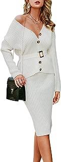 BerryGo Women's Long Sleeve 2 Piece Sweater Dress Button Down Sweater Knit Skirt Set