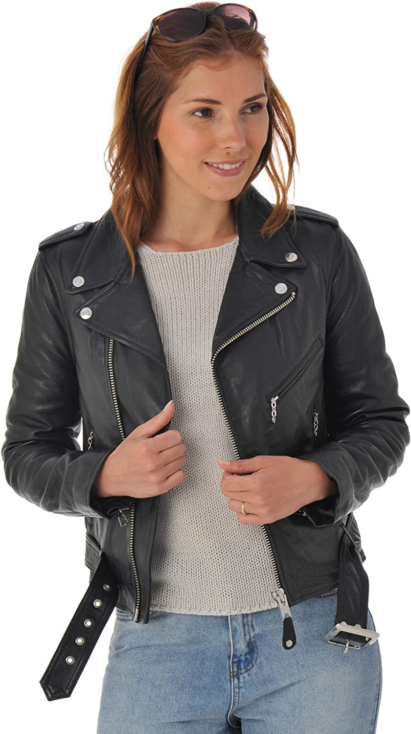 Leather Lifestyle Womens Real Lambskin Leather Biker Style Fitted Black Motorcycle Casual Jacket  WJ43