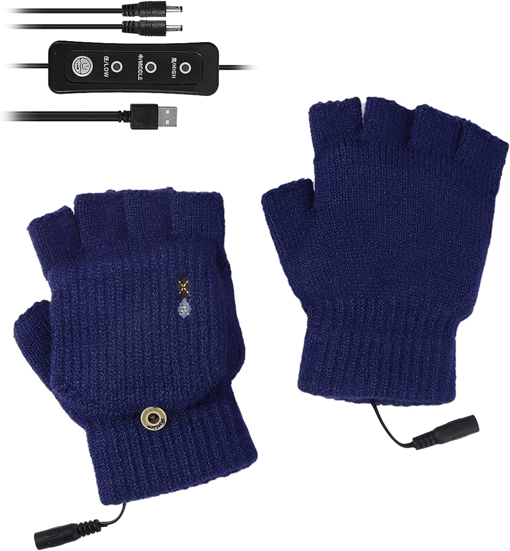 ROSEBEAR USB Heated Gloves for Men Women Knitting Electric Heated Gloves Fingerless Hands Warmer with Finger Cover