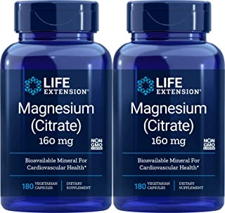Life Extension Magnesium Citrate, 180 Capsules (Pack of 2), 160 Mg