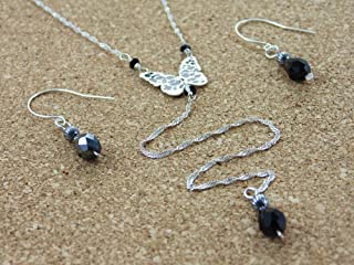 Sterling Silver necklace set Jewelry inspired by the variety of butterflies that inhabit Costa Rica Sterling silver long chain with hand-cut butterfly pendant earrings with Swarovski Austrian Cristal