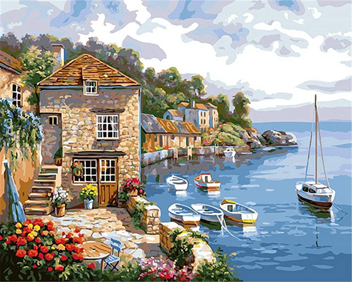 CaptainCrafts New Paint by Numbers 16x20 for Adults, Kids LINEN Canvas - Seaside Cottage,Sailing (Frameless)